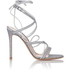 Gianvito Rossi Glitter Ankle-Strap Sandals (£560) ❤ liked on Polyvore featuring shoes, sandals, silver, strap sandals, leather sole shoes, buckle sandals, leather ankle strap sandals and leather criss cross sandals