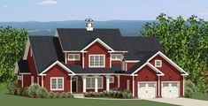 Tell us what you think of the exterior styling of this brand new New England Farm #houseplan?? The Maple View House Plan 9019 features 4 Bedrooms and 3.5 Baths with optional bonus space. A rear covered deck and porch allow for extended outdoor living time, especially for those living in the Northeast. http://www.thehousedesigners.com/plan/maple-view-9019/
