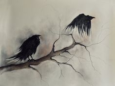 """Flying Original Charcoal Drawing, Halloween Ravens Gothic Drawing 26x20"""" on Etsy, $120.00"""
