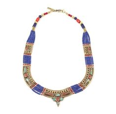MOON SHIELD LAPIS  RED CORAL NECKLACE
