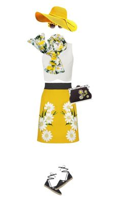 """""""Daisy girl"""" by mcheffer ❤ liked on Polyvore featuring Lipsy, Dolce&Gabbana, Circus By Sam Edelman, Kate Spade, skirt, hat, floralprint, sunnies and scarf"""