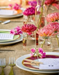 Pink single flower centerpieces
