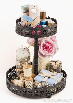 Staying organized doesn't have to look boring. Keep your  sewing supplies looking lovely with this container.