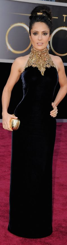 STUNNING Salma Hayek 2013 Oscar Red Carpet..Gown is by Carolina Herrera...Gorgeous Goddess Gown..luv the jeweled neckline and her hair is perfect