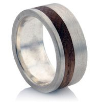 Great wedding band with wood inlay