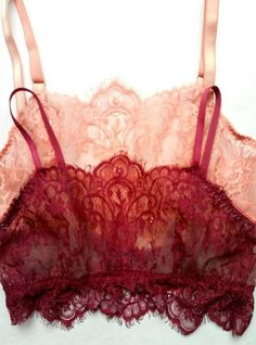 """Bralette made from delicate Chantilly lace in flirty burgundy or peach color. This bralette was inspired by vintage glamour of the 1930s. It has adjustable straps, plush elastic band and hook and eye closure. Size Guide: Extra Small - 34-35""""Bust, 24-25 Waist, Small - 36-37"""""""