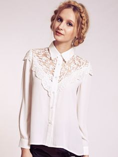 Dahlia Lillie White Lace Yoke Collar Blouse. whoa, so girlie... or it just the braids