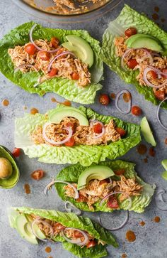 Buffalo Chicken Lettuce Wraps, a healthy low carb dinner recipe that's on the table in 15 minutes! These Lettuce Wraps are loaded with buffalo chicken flavor and topped with fresh veggies! Chicken Wraps, Buffalo Chicken Lettuce Wraps, Healthy Low Carb Dinners, Easy Healthy Recipes, Easy Meals, Healthy Food, Healthy Salads, Low Carb Chicken Salad, Chicken Salad Recipes