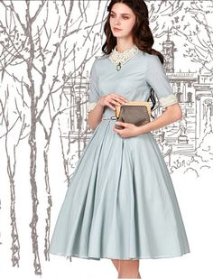Vintage Inspired Style 1950s Fashion Elegant Dress
