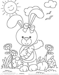 Rabbits coloring pages coloring book pages Pinterest Spring