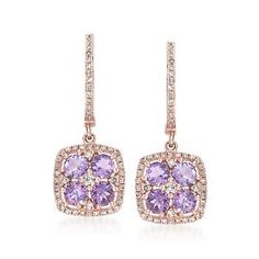 Ross-Simons - 1.10 ct. t.w. Amethyst and .39 ct. t.w. Diamond Drop Earrings in 14kt Rose Gold - #838891