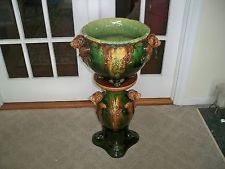 Roseville Pottery Majolica Lions Head Jardiniere & Pedestal Blended Glaze Rare