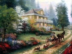 ~ Sunday at Apple Hill ~ {Thomas Kinkade} ~ An Old-fashioned Summertime! <3
