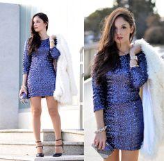 Back Hollow Blue Sequin Dress