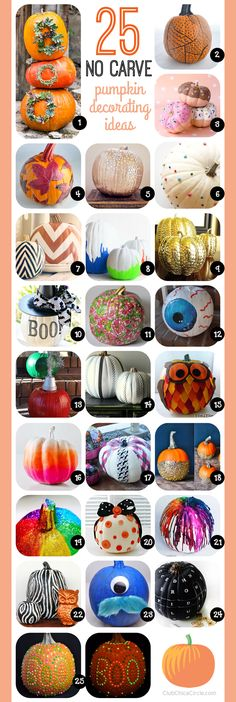 25 No Carve Pumpkin Decorating Ideas | Club Chica Circle - where crafty is contagious