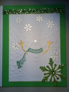 christmas card snowman emboss folder and snowflake stiker and gems