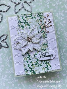 The poinsettia, a favorite holiday flower, combined with Merry Melody embossing. Instructions at my website, aromasandart.com Poinsettia Cards, Christmas Poinsettia, Stampin Up Christmas, Holiday Cards, Christmas Cards, Christmas Printables, Stampin Pretty, Flowers For You, Flower Center