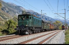 High quality photograph of SBB Historic Ae # 10976 at Turtmann, Switzerland. Swiss Railways, Locomotive, Switzerland, Trains, Mountain, Running, Cars, Keep Running, Why I Run