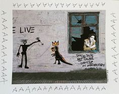Basquiat at home (Broken Windows series) 2014 cm 35×25 #inkonpaper #acryliconpaper #workonpaper #paperart #paperpaint #basquiat #monacoart #brokenwindows #figurativeart #illustration