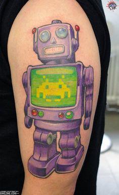Sweet robot tattoo.
