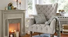 Cosy up your home ! Fireplace Console, Modern Fireplace, Style At Home, Wingback Chair, Armchair, Cosy, Accent Chairs, Inspiration, House Styles