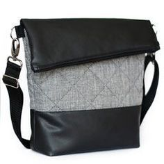 FoldOver Tasche von Hansedelli mit schwarzem Kunstleder und grauem Steppstoff