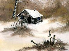 Peaceful Landscape Paintings by Bob Ross  - Bob Ross  Landscape Paintings : Winter Cabin  23