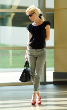 I love the pants & pumps combo!