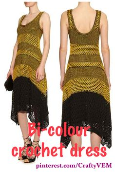 PROENZA SCHOULER Bi-colour crochet dress.  this yellow and black crochet-lace dress is designed to fit slim on the waist and fall loosely over the body and is detailed with an open back and handkerchief hem. Style it with lace-up sandals for a sensual feminine finish. (affiliate link)