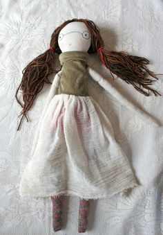 "sally sun handmade rag doll - waldorf inspired 20""ish cloth doll, brown wool hair, embroidered face and glasses, scrappy striped dress, wool..."