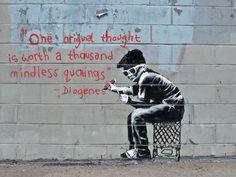 "Banksy graffiti art, ""Diogenes"", Various Sizes, Giclee Print on Canvas Banksy Graffiti, Street Art Banksy, Arte Banksy, Graffiti Books, Graffiti Kunst, Banksy Canvas, Graffiti Artwork, Graffiti Drawing, Bansky"
