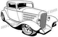 1932 Ford Three Window Coupe hot rod art - 3/4 view
