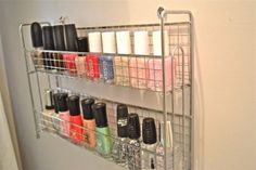 Genius! Spice holder as nail polish organizer! 150 Dollar Store Organizing Ideas and Projects for the Entire Home - Page 144 of 150 - DIY & Crafts