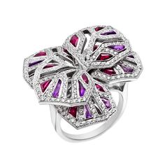 Cartier Diamond, Ruby & Amethyst 'Orchid' Ring – Photo courtesy of Betteridge