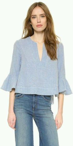 Striped blue bell shirt
