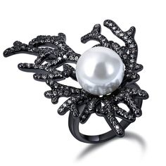 Gorgeous Coral Design Women Rings Created Pearl Deluxe Synthetic Cubic Zirconia Black Gold-color Bridal Wedding Jewelry