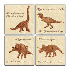 Vintage Dinosaur Illustration Collection  4 Panel by ModernCanvas, $125.00  Buuuuuuuutttt tattooooed??