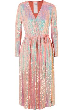 ASHISH Sequined silk-georgette wrap dress