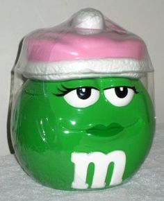 15d9d75a87c M s Candies Ceramic Jar Plain Green Girl Pink Hat Cookie Treat Candy  Galerie 2003 NEW  17.50