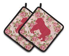 Gorilla Shabby Chic Pink Roses Pair of Pot Holders BB1129-RS-PK-PTHD