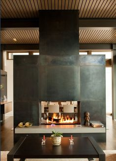 Modern Metal Plate Fireplace Focal Point. Considering metal face to break up wood ceiling and floors.
