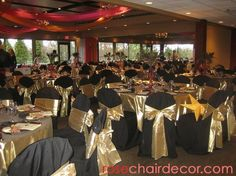black table with gold chair | Party Rentals: Rose Music, Chair Covers Party Rentals - chair ...