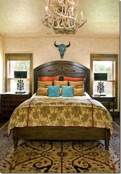 Joe it's like the walls in your new room can you show me?Gold, turquoise and orange western bedroom with mosaic cow skull. Western Bedroom Decor, Western Bedrooms, Home Decor Bedroom, Texas Bedroom, Bedroom Ideas, Rustic Bedrooms, Western Style, Guest Bedrooms, Master Bedroom