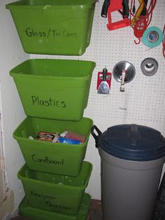 Hang up bins on peg board vertically with the hooks for a great way to sort without taking up too much room.  Great for recycling, toys and other misc.
