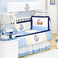Kit Berço Americano Enxoval Bebê com Mosquiteiro Baby Barquinho Branco/Azul/Palha Misto 51% Algodão 49% Poliéster 1,60m x 1,05m 8 Peças