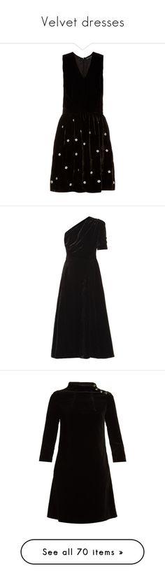 """Velvet dresses"" by missloveschic ❤ liked on Polyvore featuring dresses, black, v neck dress, silk dress, embroidered dress, flower dress, v neck cocktail dress, a line midi dress, short a line dresses and short velvet dress"