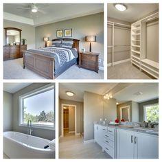Master bedroom, Master Bath and closet SW Mega Greige walls Mega Greige, Master Bath, Master Bedroom, Custom Built Homes, Paint Colors, Bathtub, Walls, Building, Closet