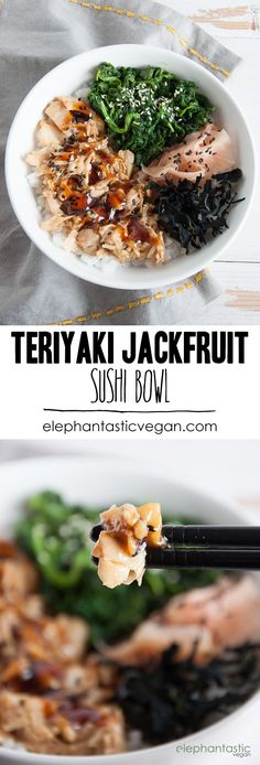 Teriyaki Jackfruit Sushi Bowl | ElephantasticVegan.com