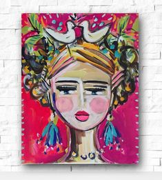 Abstract Portrait Painting, large canvas, 16x20, woman portrait by Marendevineart on Etsy