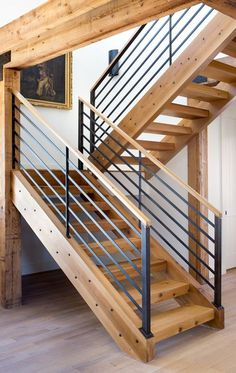floating stairs Modern Rustic Blend Staircase by Five Stones Construction Interior Stair Railing, Modern Stair Railing, Stair Railing Design, Home Stairs Design, Modern Staircase, House Design, House Staircase, Staircase Remodel, Staircase Railings